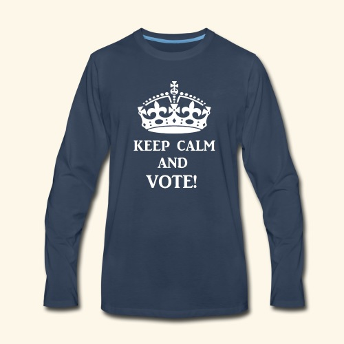 keep calm vote wht - Men's Premium Long Sleeve T-Shirt