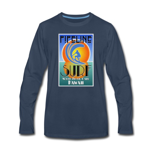 Pipeline, North Shore, Oahu, Art Deco Style - Men's Premium Long Sleeve T-Shirt