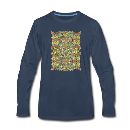 Odd creatures multiplying in a symmetrical pattern - Men's Premium Long Sleeve T-Shirt
