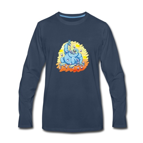 Voracious social networks' monster gobbling likes - Men's Premium Long Sleeve T-Shirt