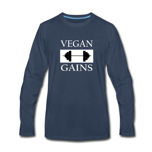 Vegan Gains white font - Men's Premium Long Sleeve T-Shirt