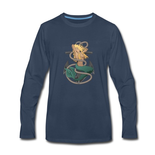 Mermaid with anchor and rope - Men's Premium Long Sleeve T-Shirt