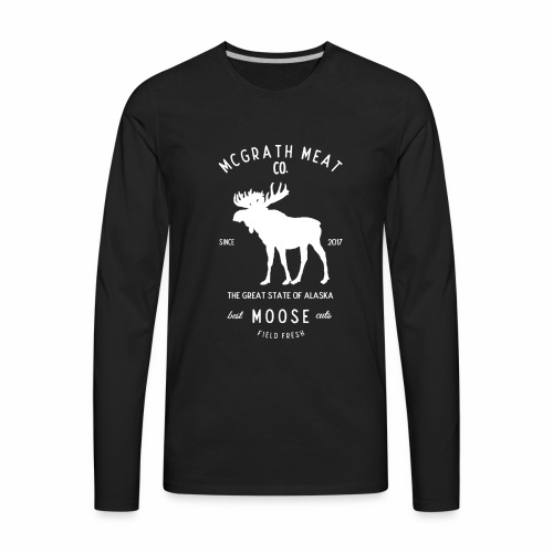 McGrath Meat Company White Stamp Logo - Men's Premium Long Sleeve T-Shirt