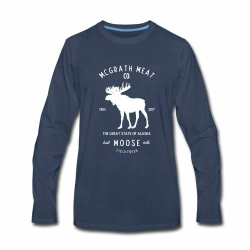 McGrath Meat Company White Stamp Logo - Men's Premium Long Sleeve T-Shirt
