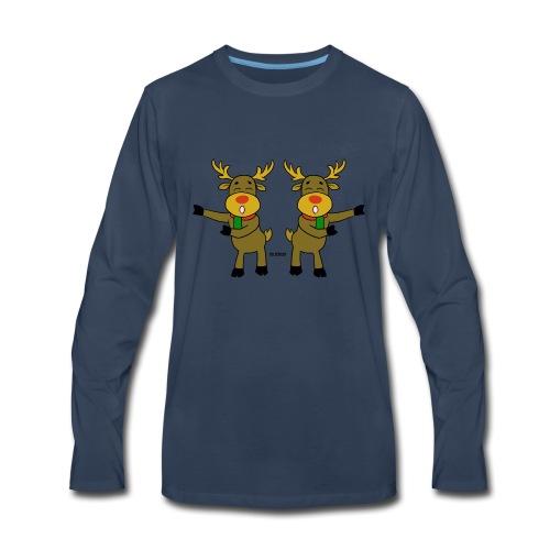 reindeer floss backback dance - Men's Premium Long Sleeve T-Shirt