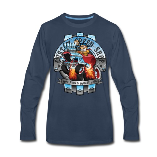 Custom Speed Shop Hot Rods and Muscle Cars Illustr - Men's Premium Long Sleeve T-Shirt