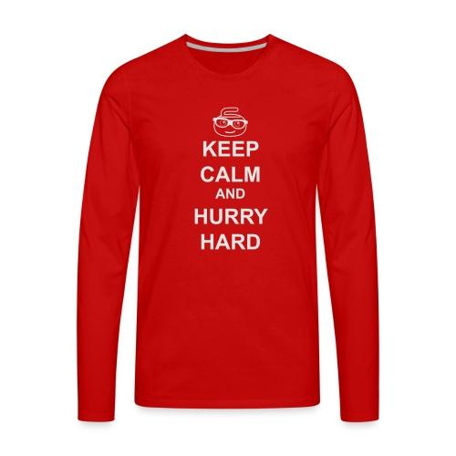 CurlingGeek white print - Men's Premium Long Sleeve T-Shirt