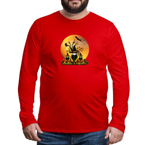 Happy Halloween with 3 masked cats - Men's Premium Long Sleeve T-Shirt