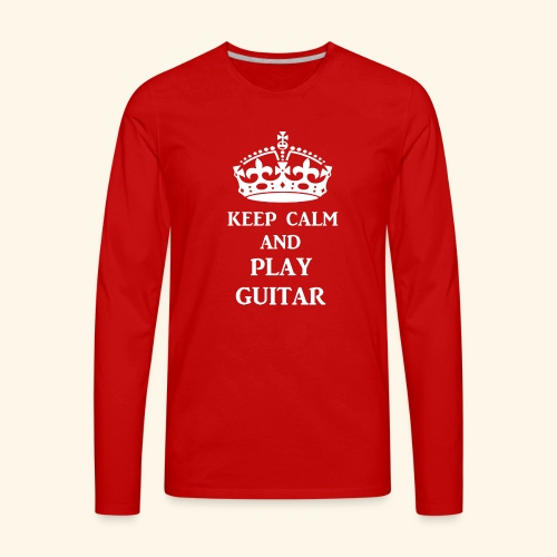 keep calm play guitar wht - Men's Premium Long Sleeve T-Shirt