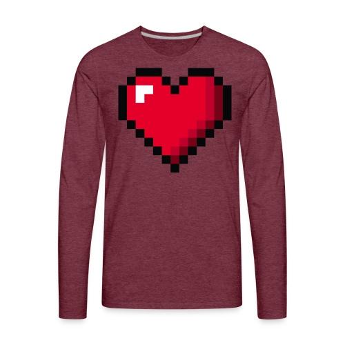 Pixel 8 bit Happy Valentine s Day Heart for Gamers - Men's Premium Long Sleeve T-Shirt