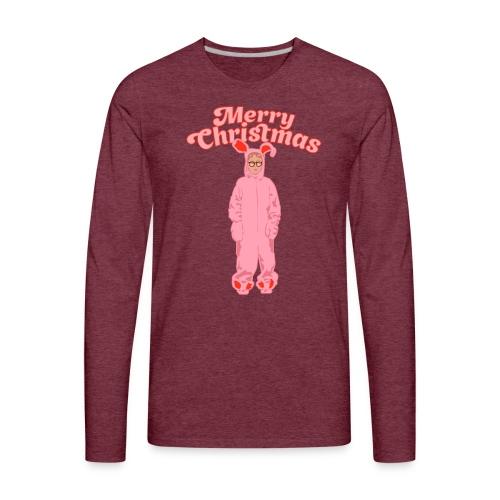 Deranged Pink Bunny Costume Merry Christmas - Men's Premium Long Sleeve T-Shirt