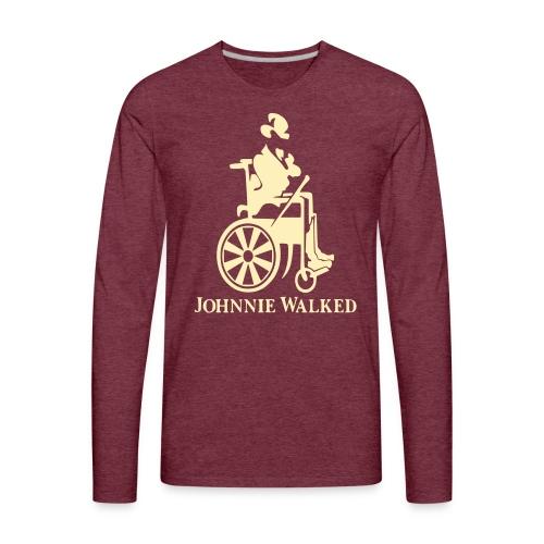 Johnnie Walked, Wheelchair fun, whiskey and roller - Men's Premium Long Sleeve T-Shirt