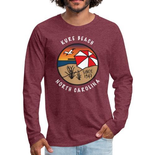 Kure Beach Sunrise-White Lettering-Front Only - Men's Premium Long Sleeve T-Shirt