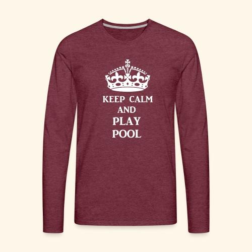 keep calm play pool wht - Men's Premium Long Sleeve T-Shirt