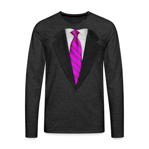 Pink Suit Up! Realistic Suit & Tie Casual Graphic - Men's Premium Long Sleeve T-Shirt