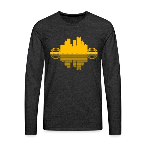 Pittsburgh Skyline Reflection (Gold) - Men's Premium Long Sleeve T-Shirt