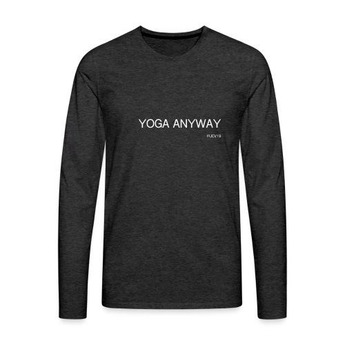 YOGA WHITE font - Men's Premium Long Sleeve T-Shirt