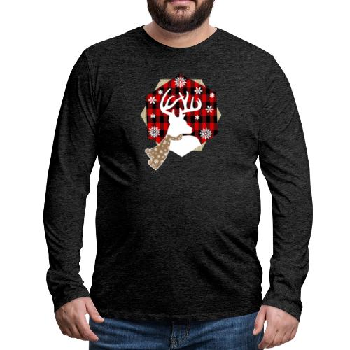 reindeer on plaid - Men's Premium Long Sleeve T-Shirt
