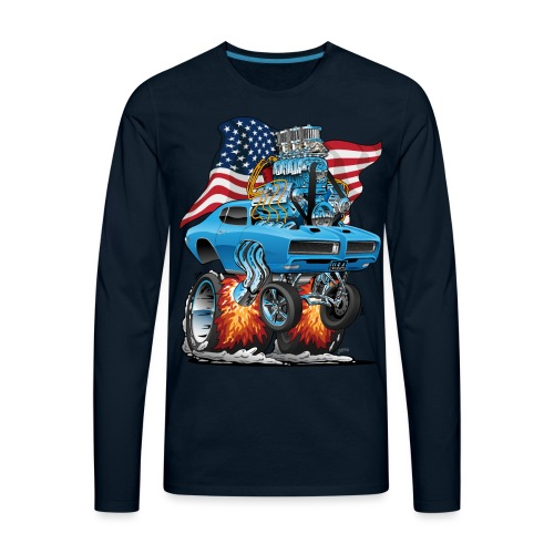 Patriotic Sixties American Muscle Car with Flag - Men's Premium Long Sleeve T-Shirt