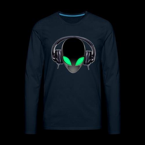 Alien Music Lover DJ (Simplified Fit All Design) - Men's Premium Long Sleeve T-Shirt