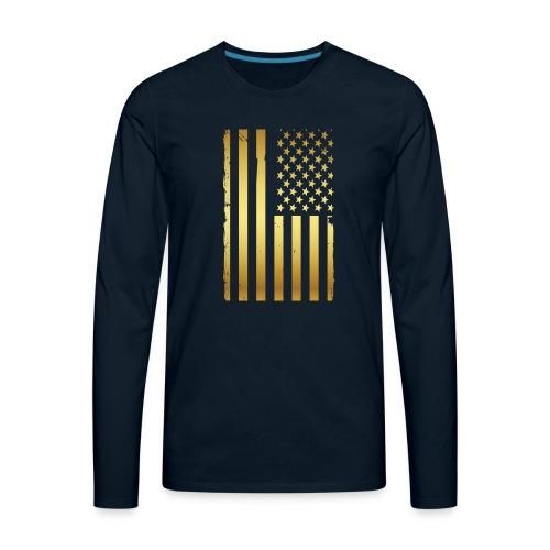 Golden american flag - Men's Premium Long Sleeve T-Shirt