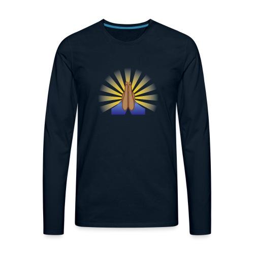 Prayer Hands (Brown) - Men's Premium Long Sleeve T-Shirt