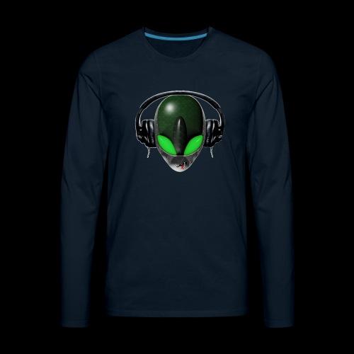Reptoid Green Alien Face DJ Music Lover - Friendly - Men's Premium Long Sleeve T-Shirt