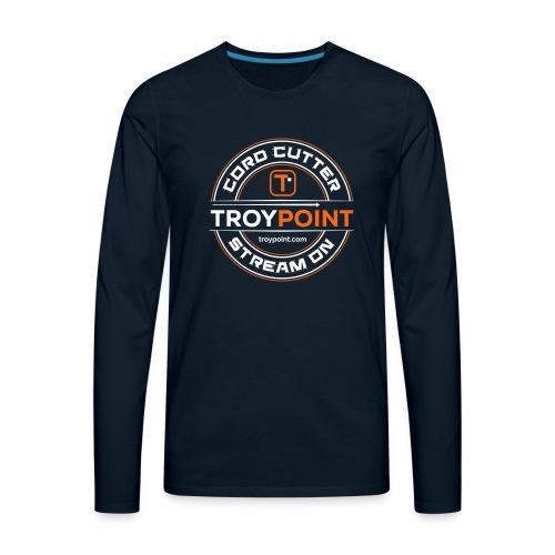 TROYPOINT Cord Cutter - Orange Logo - Men's Premium Long Sleeve T-Shirt