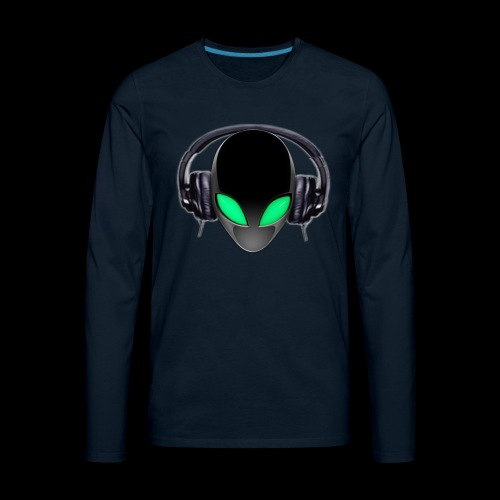 Alien Music Lover DJ (Simplified Fit All Design) - Men's Premium Long Sleeve T-Shirt