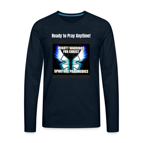 MightyWarrior PrayAnytime White - Men's Premium Long Sleeve T-Shirt