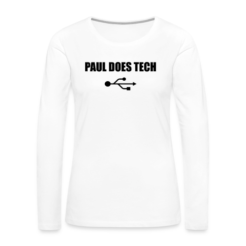 Paul Does Tech Logo Black with USB - Women's Premium Long Sleeve T-Shirt