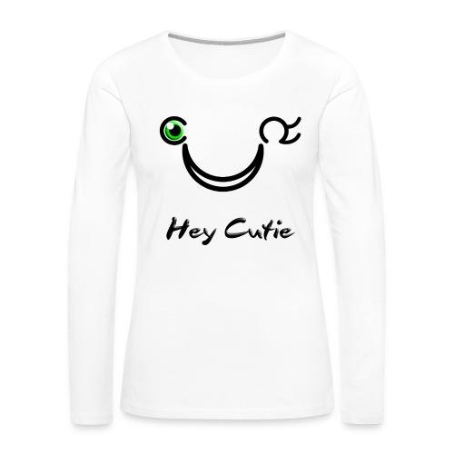 Hey Cutie Green Eye Wink - Women's Premium Long Sleeve T-Shirt