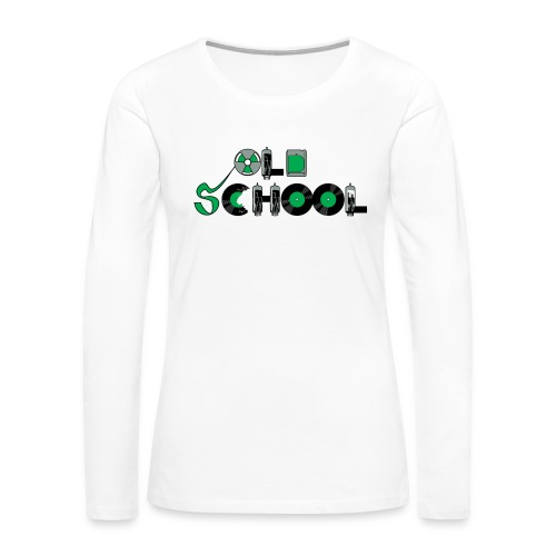 Old School Music - Women's Premium Slim Fit Long Sleeve T-Shirt