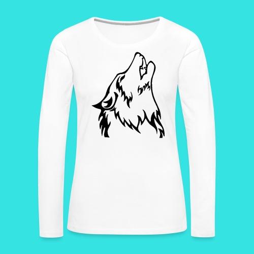 Wolf (back) - Women's Premium Slim Fit Long Sleeve T-Shirt