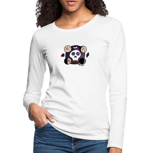 Moon Skull from Outer Space - Women's Premium Slim Fit Long Sleeve T-Shirt