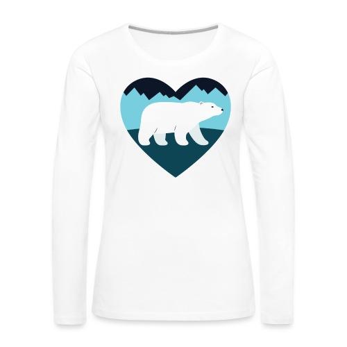 Polar Bear Love - Women's Premium Slim Fit Long Sleeve T-Shirt