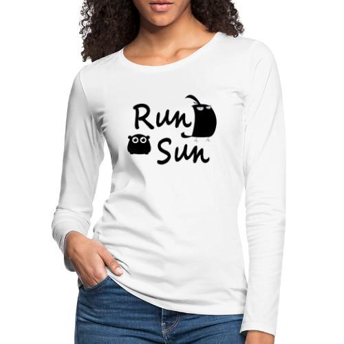 Run Sun Logo - Women's Premium Slim Fit Long Sleeve T-Shirt