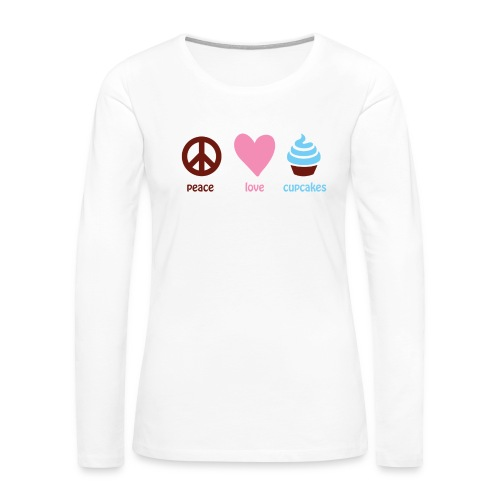 peacelovecupcakes pixel - Women's Premium Slim Fit Long Sleeve T-Shirt