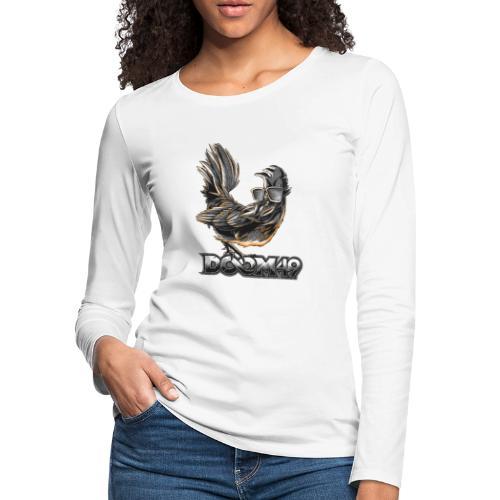 DooM49 Black and White Chicken - Women's Premium Slim Fit Long Sleeve T-Shirt