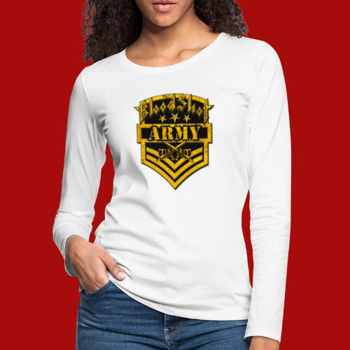 BloodShot ARMYLogo Gold /Black - Women's Premium Slim Fit Long Sleeve T-Shirt