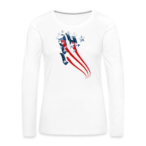 Sweeping American Flag - Women's Premium Long Sleeve T-Shirt