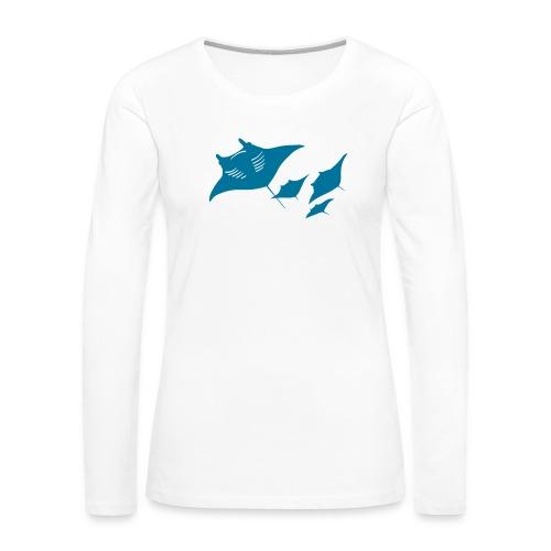 manta ray sting scuba diving diver dive - Women's Premium Slim Fit Long Sleeve T-Shirt