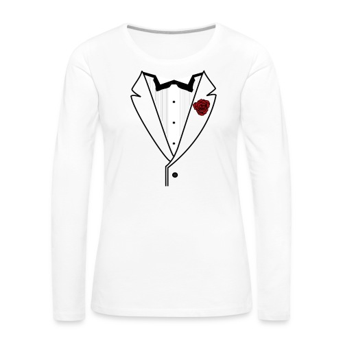 Tuxedo w/Black Lined Lapel - Women's Premium Slim Fit Long Sleeve T-Shirt