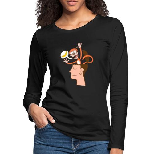 Monkey mind asking meditator for bananas - Women's Premium Long Sleeve T-Shirt