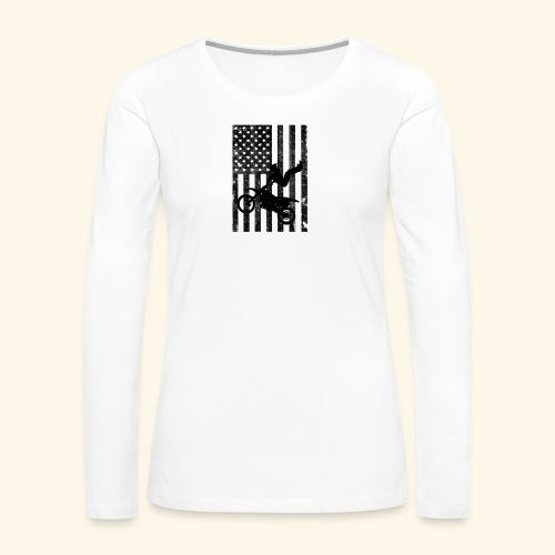American Flag (Black and white) - Women's Premium Long Sleeve T-Shirt