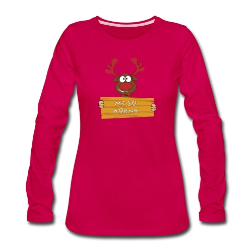 Red Christmas Horny Reindeer 9 - Women's Premium Slim Fit Long Sleeve T-Shirt