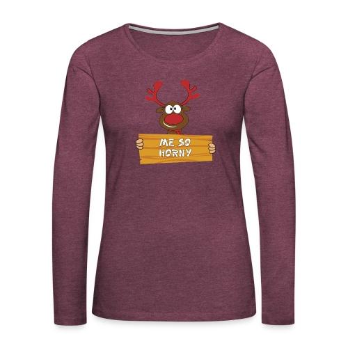 Red Christmas Horny Reindeer 3 - Women's Premium Long Sleeve T-Shirt