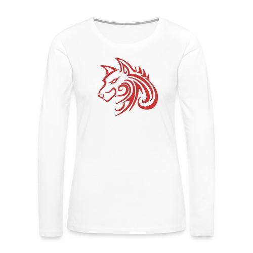 3d31c4ec40ea67a81bf38dcb3d4eeef4 wolf 1 red wolf c - Women's Premium Long Sleeve T-Shirt