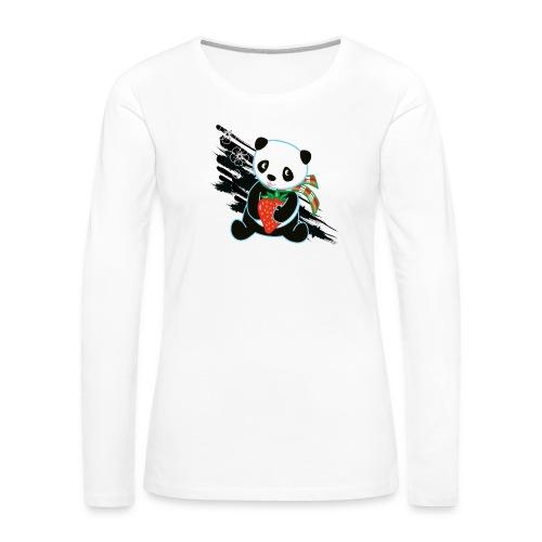 Cute Kawaii Panda T-shirt by Banzai Chicks - Women's Premium Slim Fit Long Sleeve T-Shirt