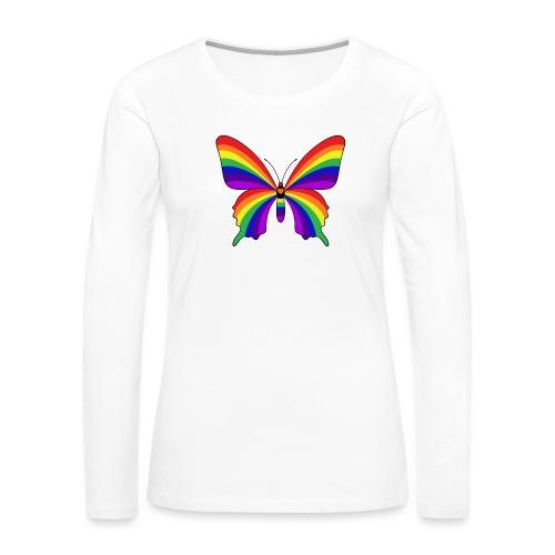 Rainbow Butterfly - Women's Premium Slim Fit Long Sleeve T-Shirt
